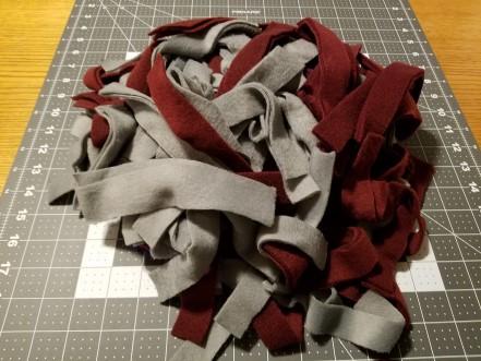 A pile of fleece strips.