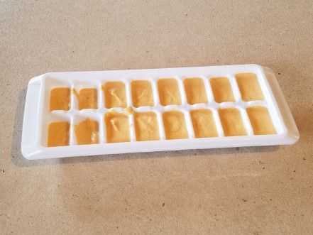 Pumpkin and yogurt mixture in ice cube tray ready to freeze.