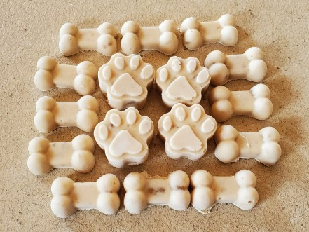 Bone and paw shaped ice cream for dogs.